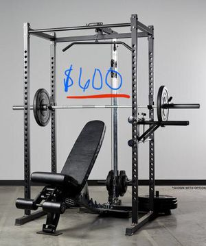 Rep Fitness rack, lat pulldown, bench, and extras for Sale in Greenwood Village, CO