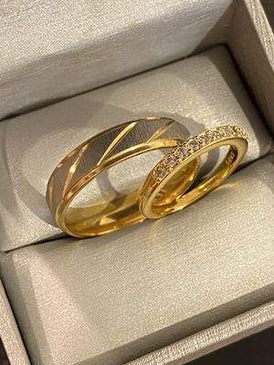 18K Yellow Gold plated Engagement/Wedding Ring Set- Code AV1 for Sale in Boston, MA