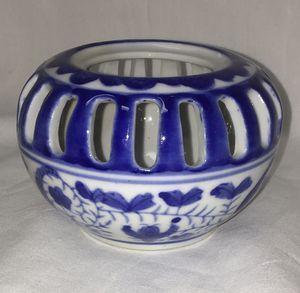 Cobalt Blue & White Delft Like Tealight Votive Candle Holder - Lattice Open Basket Weave Design for Sale in El Mirage, AZ