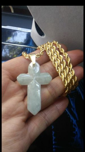 "(1)Estate genuine green jade jadeist cross pendant 14k gold Italy plated rope chain 24"" 4mm for Sale in El Sobrante, CA"