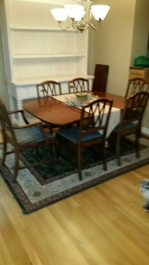 Antique Dining Table, with 6 Chairs and 4 additional leaves for Sale in Beaverton, OR