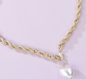 Gold fashion heart shaped pearl link necklace for Sale in Baltimore, MD