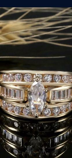 18k gold plated ring white sapphire size 6 And 9 available jewelry accessory for Sale in Burtonsville,  MD