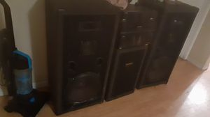 Fisher cd changer reciever 2 pro audio 15inch house speakers with pro studio bass cannon for Sale in West Sacramento, CA