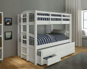 🎈Bunk bed white Twin/T With Trundle and 3 Drawers🎈 for Sale in Hialeah, FL