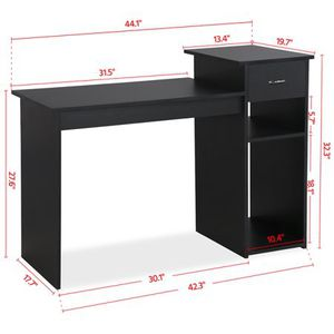 Small Spaces Home Office Black Computer Desk with Drawer and 2 Tiered Storage Shelves Furniture for Sale in Ruskin, FL