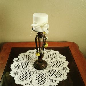 Handmade yellow and white floral candle holder with candle for Sale in Colton, CA