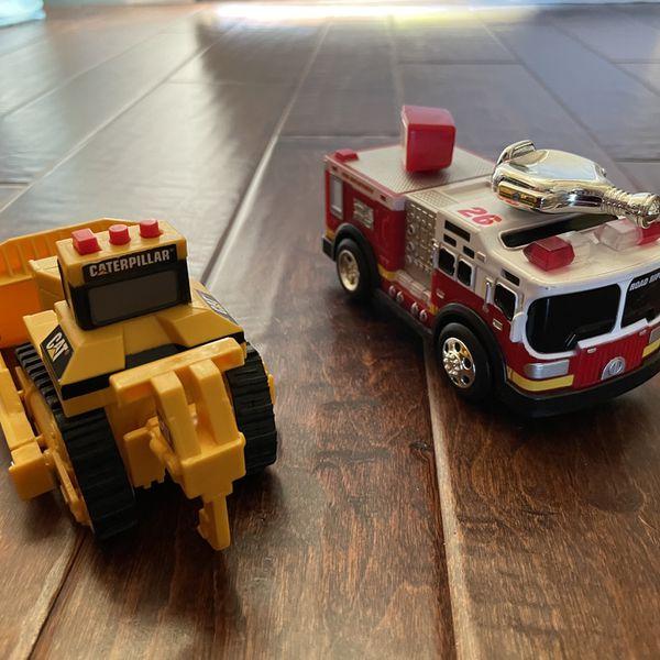 Fire truck & CAT Excavator