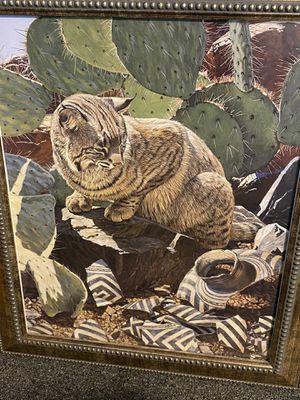 Wildlife bobcat picture framed for Sale in Mount Joy, PA