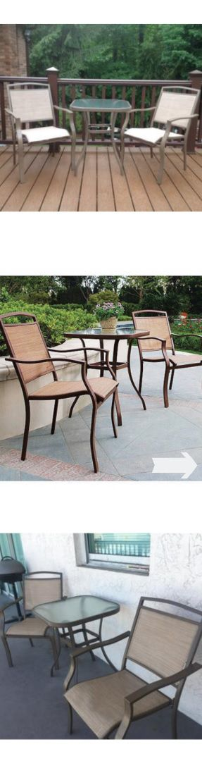 NEW (3 Piece) Contemporary Outdoor Bistro Set - Patio Home Sling Chairs & Tempered Top Glass Table - Seat Garden Pool Poolside Furniture - ↓READ↓ for Sale in Chula Vista, CA
