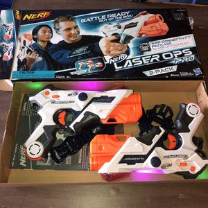 NERF Laser Ops Pro Alphapoint blasters with armbands 2 pack for Sale in Independence, OR