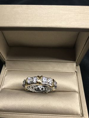14K Two tone Gold plated with white Sapphire Stones Size 7 for Sale in Dallas, TX