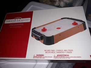 Tabletop small Hockey table super cute real air with new battery for Sale in San Antonio, TX