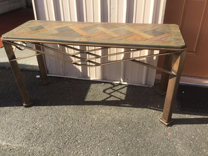 Very Sturdy Slate Topped Entryway Table / Hall Table / Console Table - Delivery Available for Sale in Tacoma, WA