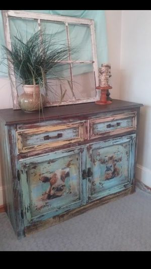 Distressed wood cow cabinet for Sale in Lillington, NC