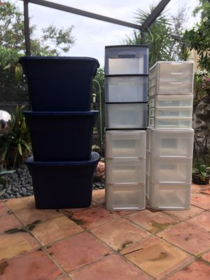 STORAGE Tubs Containers Plastic drawers for Sale in Boca Raton, FL