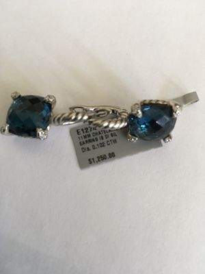 David Yurman Chatelaine Drop Earrings with Hampton Blue Topaz and Diamonds for Sale in Las Vegas, NV