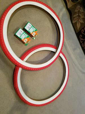 2 New beach cruiser bicycle tires 26 x 2.125 diamond pattern red with white wall and tubes for Sale in La Habra, CA