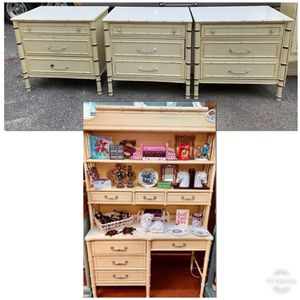 Midcentury Faux Bamboo Henry Link Bali Hai Desk or Small dresser / chest of drawers for Sale in Silver Spring, MD