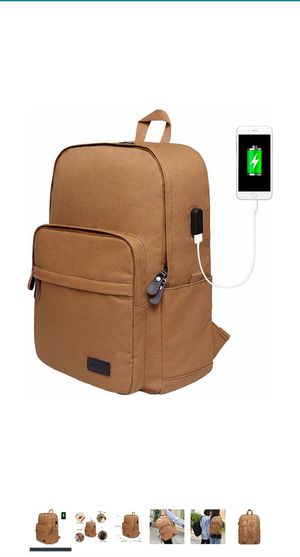 Backpack Canvas Student Bookbag for Men/Women, Boys/Girls with USB Charging Port Fits 15.6 Inch Laptop and Notebook - Brown for Sale in Jamaica, NY