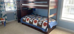 Kids Bunk Bed ( Twin over Twin Size) with mattresses. One of the mattress has never been used. for Sale in Bristow, VA