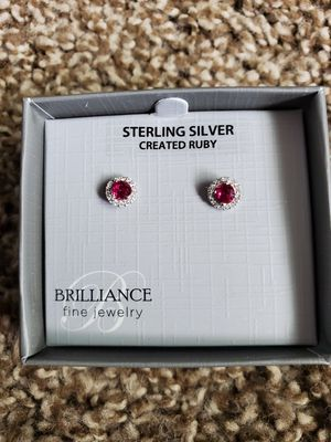 Sterling silver and ruby earrings for Sale in Shelton, WA