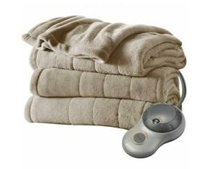 Sunbeam Heated Electric Microplush Blanket, Full, Beige for Sale in Las Vegas, NV