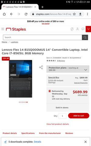 """Lenovo Flex 14"""" Convertible Laptop, Intel Core i7-8565U, 8GB Memory for Sale in El Cajon, CA"""