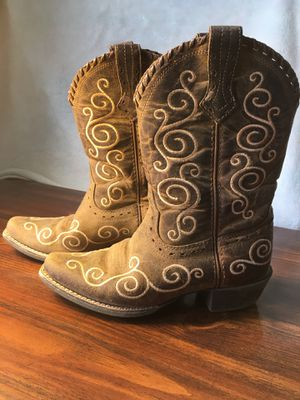 Ariat Brown Suede Kids Girls Youth Size 4 Leather Stitched COWBOY Western Boots for Sale in Brockton, MA