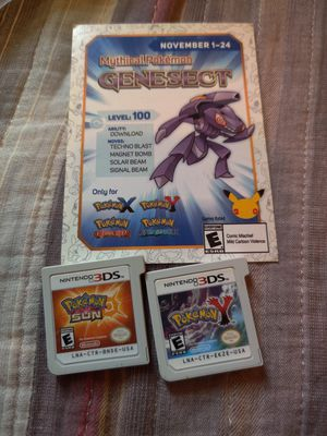 Pokemon Y and Pokemon sun 3ds game , 2ds game for Sale in Los Angeles, CA
