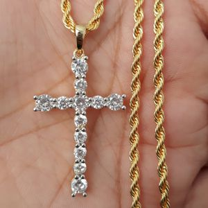 New 14k gold finish Icedout cross necklace for Sale in Los Angeles, CA