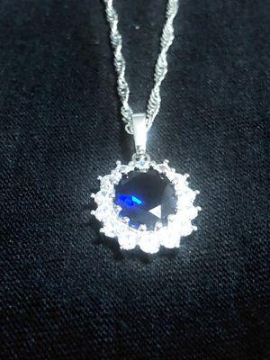 Sterling Silver necklace / Dark Blue CZ Pendant for Sale in Las Vegas, NV