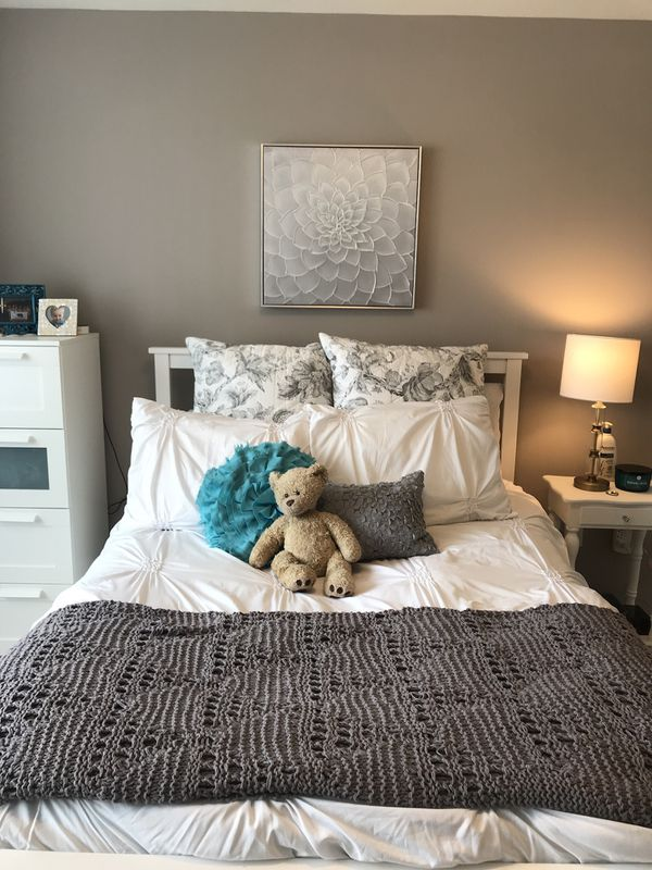 White IKEA full bed frame and mattress