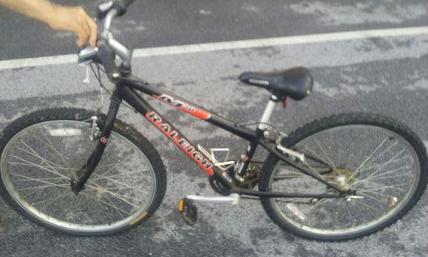 "Raleigh M20 entry-level 12"" frame, mountain bike, juvenile or 5'4"" and under, good condition, ding on crossbar."