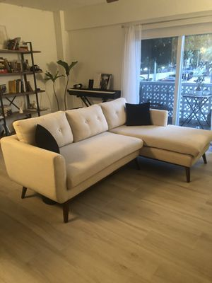 Beige and wooden sectional sofa for Sale in Miami Beach, FL