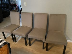 4 Beige Chairs with Black Legs for Sale in Spring Valley, CA