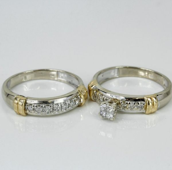 14k Gold Princess Diamond Wedding Set
