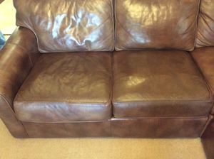 ETHAN ALLEN LEATHER SECTIONAL $1,800/obo (medium brown) for Sale in Tacoma, WA