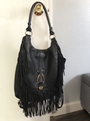 G.i.l.i convertible leather black backpack / purse fringe CLEAN & NICE!! for Sale in Pinellas Park, FL