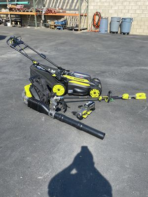3pc Ryobi 40v Self propelled lawn mower, string trimmer and backpack blower with 2 batteries and 2 chargers for Sale in Ontario, CA