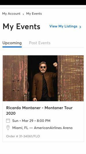 Cambio 2 ticket de Ricardo Montaner por 2 ticket de Romeo Santos Aventura o $ 125.00 for Sale in Hialeah, FL