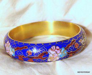 Vintage chinese blue cloisonne bangel bangle cuff bracelet w birds and flowers for Sale in Saginaw, MI