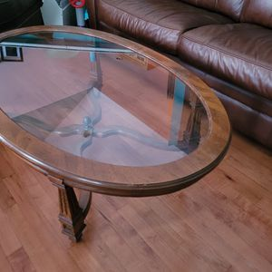 Glass and Wood Coffee Table for Sale in Hinckley, IL