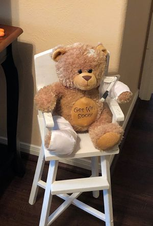 Get well teddy bear and precious wooden toy high chair for Sale in Katy, TX