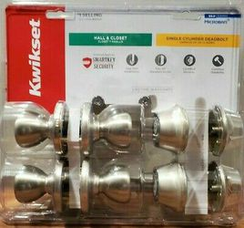 240 Tylo Satin Nickel Hall/Closet Door Knob and Single Cylinder Deadbolt Project Pack Featuring SmartKey Security by Kwikset for Sale in Newark,  NJ