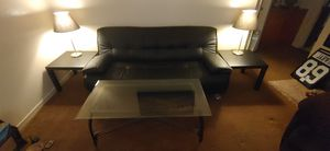 Like New leather Futon with 2 table lamps - 2 end tables and glass coffee table for Sale in Sacramento, CA