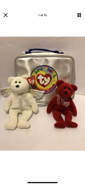 TY Beanie Baby HERALD the Angel Bear/I LOVE YOU & Beanie Baby Official Club Bag for Sale in Fresno, CA