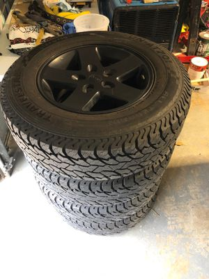 Lt 245/75r17 all four jeep wheels and tires need gone asap for Sale in Spring, TX