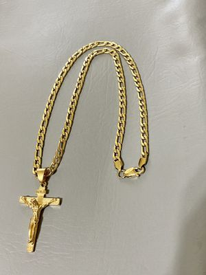 Figaro style GOLD PLATED 6mm necklace 24inches in length with Cross Charm for Sale in Orlando, FL