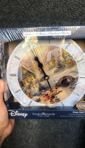 Disney Thomas Kinkade Mickey Mouse glass clock for Sale in Houston, TX